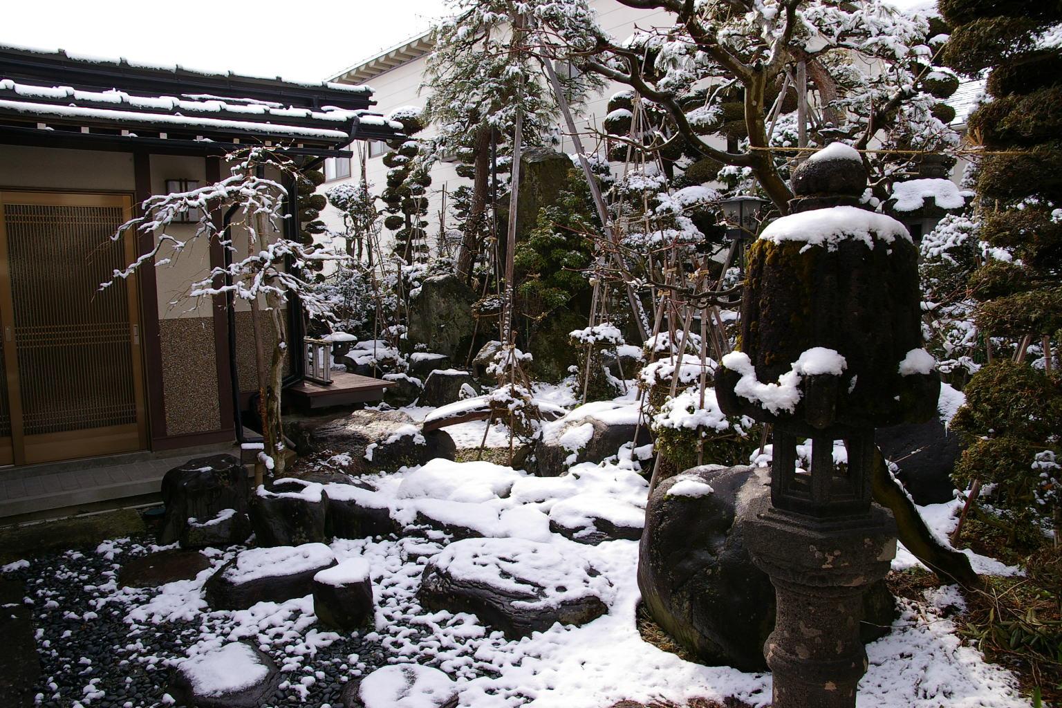 我が家の庭 雪降りの朝