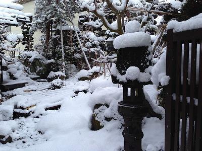 我が家の庭に雪が積もります。