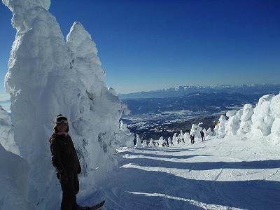 樹氷原コースを妻と一緒に滑り降りていきます。<br />