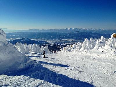 遠くの朝日連峰もバッチリの風景、山形市蔵王スキー場でした