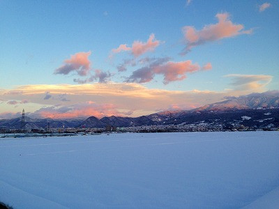 月山、葉山方面の雪景色