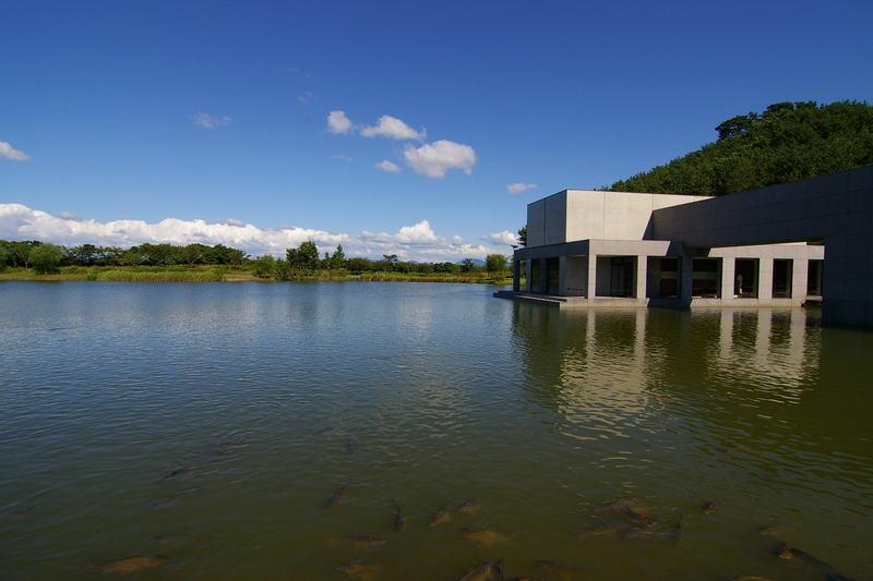 「親子連れ」 この池は、拳湖(けんこ)。向こうには、鳥海山展望。鳥海山は今日は雲がかり