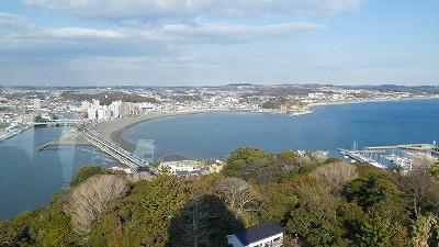 江の島から眺めた海