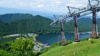 榛名山からの眺め、眼下には榛名湖
