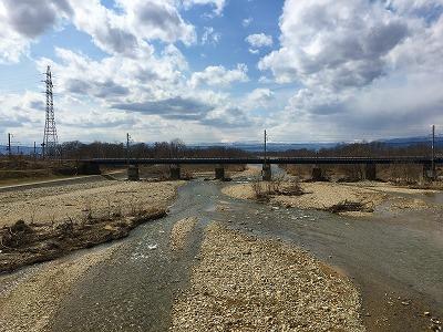 乱川です。天童市と東根市の間を流れる川