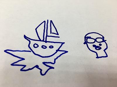 ヨットの下書きなど